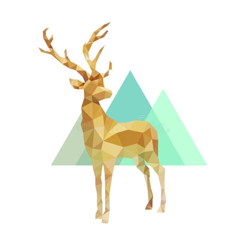 Mâle d'or polygonal, poly bas vecteur animal illustration libre de droits