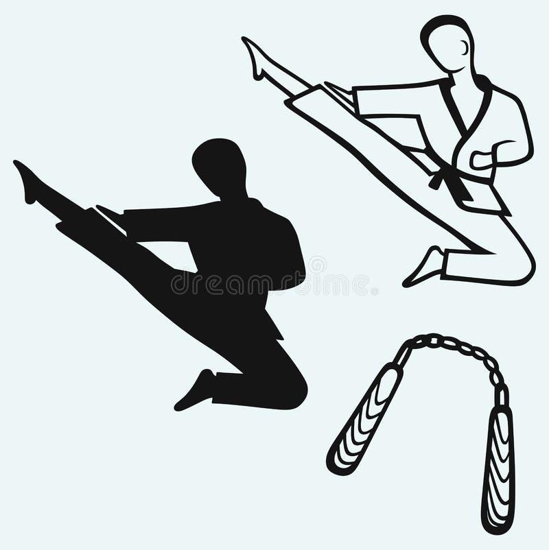 Mâle de karaté, jeune combattant et arme de nunchaku illustration stock