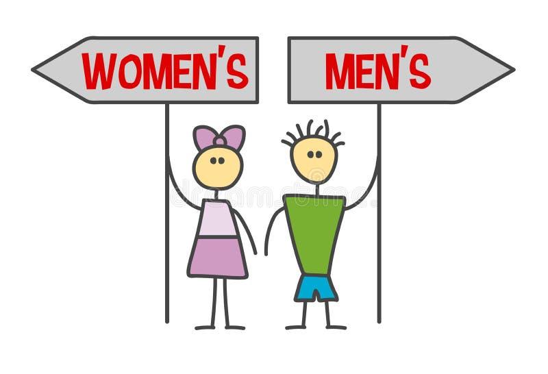 Mâle drôle de bande dessinée de griffonnage de style d'enfant, symbole femelle Le garçon et la fille montrent la manière avec les illustration de vecteur