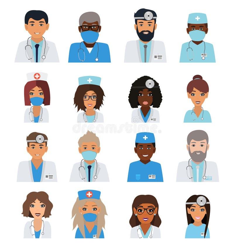 Mâle et avatars féminins d'équipe de médecins illustration de vecteur