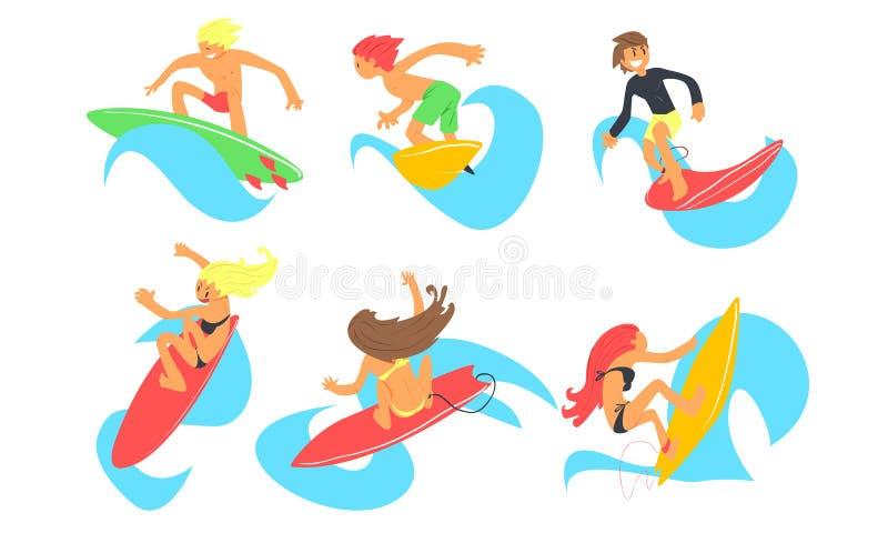 Mâle et caractères femelles de surfers montant l'ensemble de vagues, les jeunes avec des planches de surf, vecteur extrême de spo illustration de vecteur