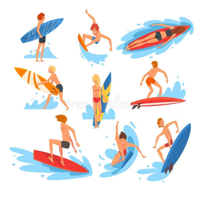 Mâle et caractères femelles de surfers montant l'ensemble de vagues, sport aquatique récréationnel de plage, les gens appréciant  illustration stock