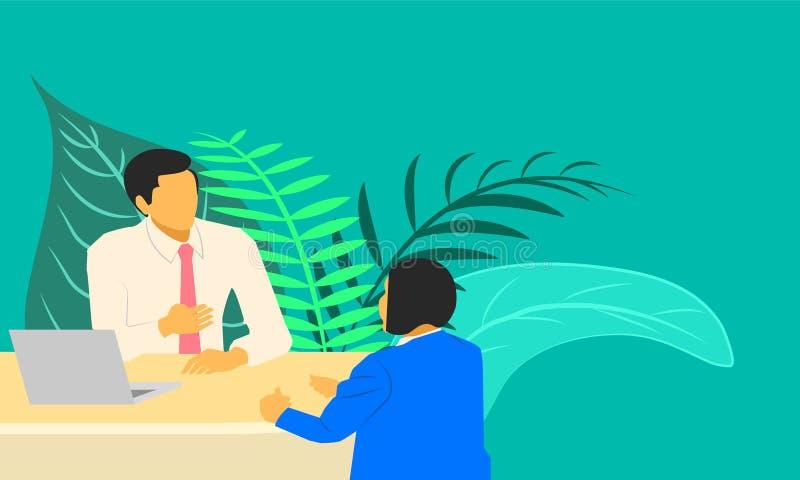 Mâle et femelle parlant quelque chose au sujet de l'entrevue d'emploi de vente d'affaires Illustration ESP10 de vecteur illustration libre de droits