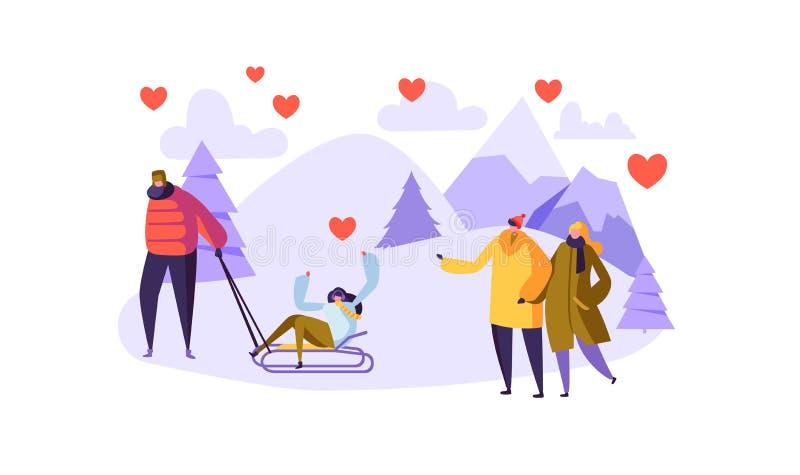 Mâle et personnages féminins dans l'amour sur le paysage d'hiver Jour romantique de couples heureux dans les montagnes Carte de V illustration libre de droits