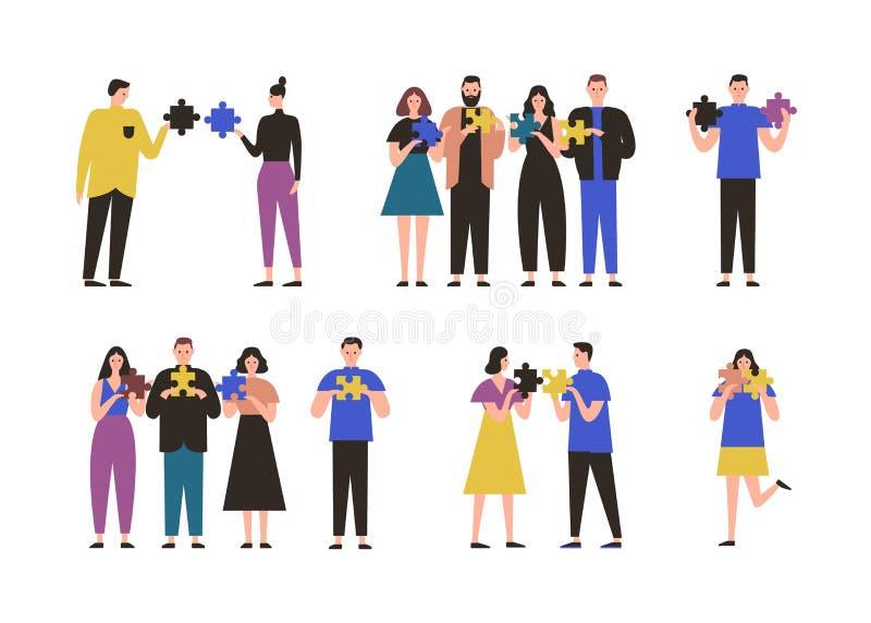 Mâle et personnages féminins seul se tenant, dans les paires ou le groupe et tenant des morceaux de puzzle denteux Concept de la  illustration de vecteur