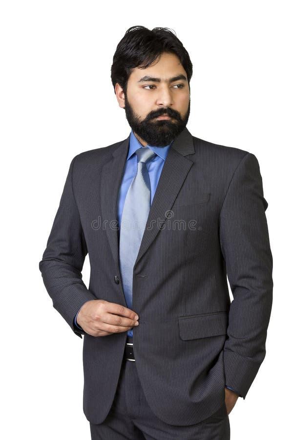 Mâle indien asiatique mûr beau avec le costume d'isolement sur le fond blanc image stock