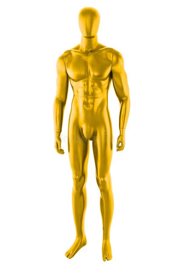 Mâle jaune de mannequin de couleur de lustre d'isolement photo stock