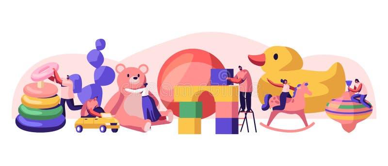 Mâle minuscule et personnages féminins jouant avec les jouets énormes de bébé dans le terrain de jeu de jardin d'enfants avec dif illustration de vecteur