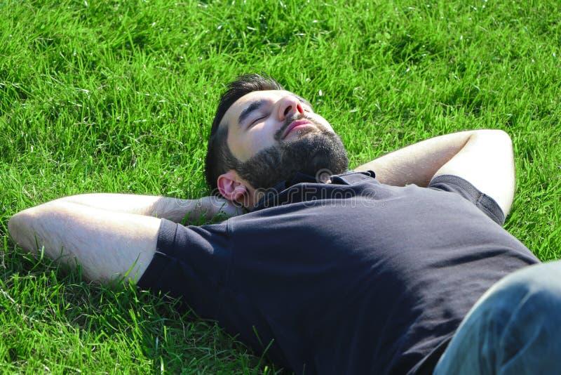 Mâle se trouvant sur l'herbe images stock