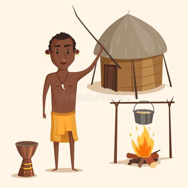 Mâle sud-américain ou africain indigène illustration libre de droits