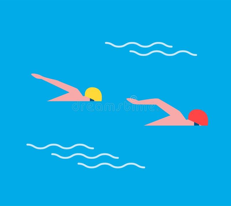Mâles d'homme dans l'illustration de natation de vecteur de sport illustration libre de droits