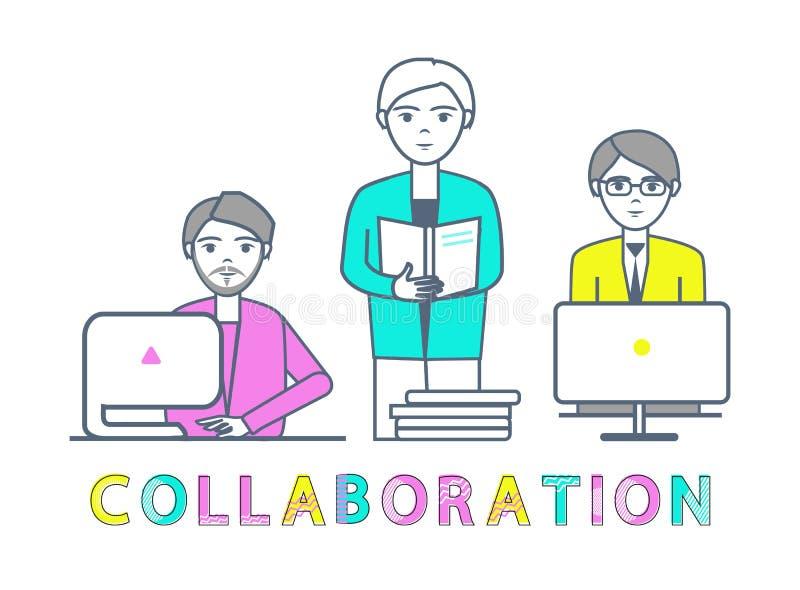 Mâles de collaboration travaillant avec le vecteur d'ordinateurs portables illustration libre de droits