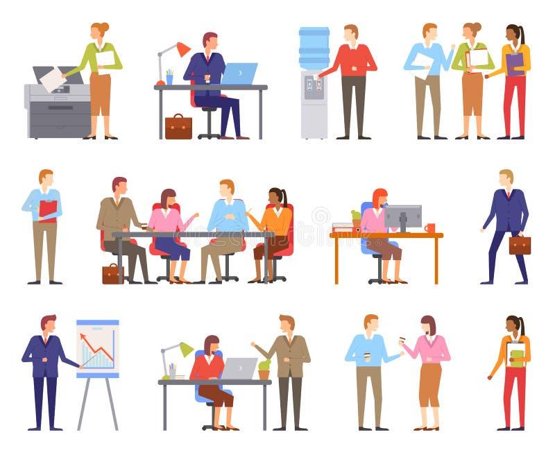 Mâles et femelles d'hommes d'affaires travaillant le vecteur illustration de vecteur