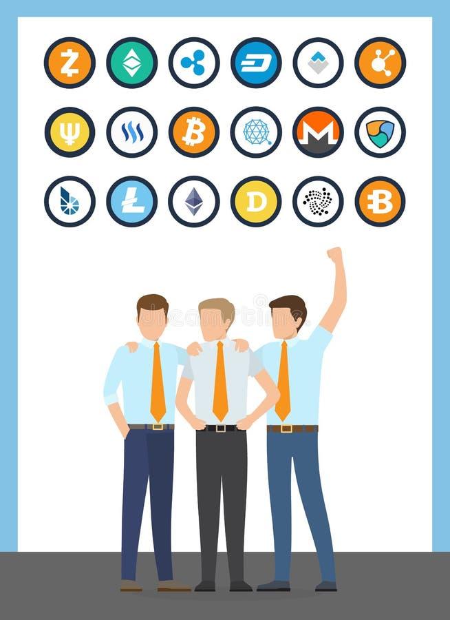 Mâles financiers de travailleurs de Bitcoin dans le vecteur de costumes illustration libre de droits