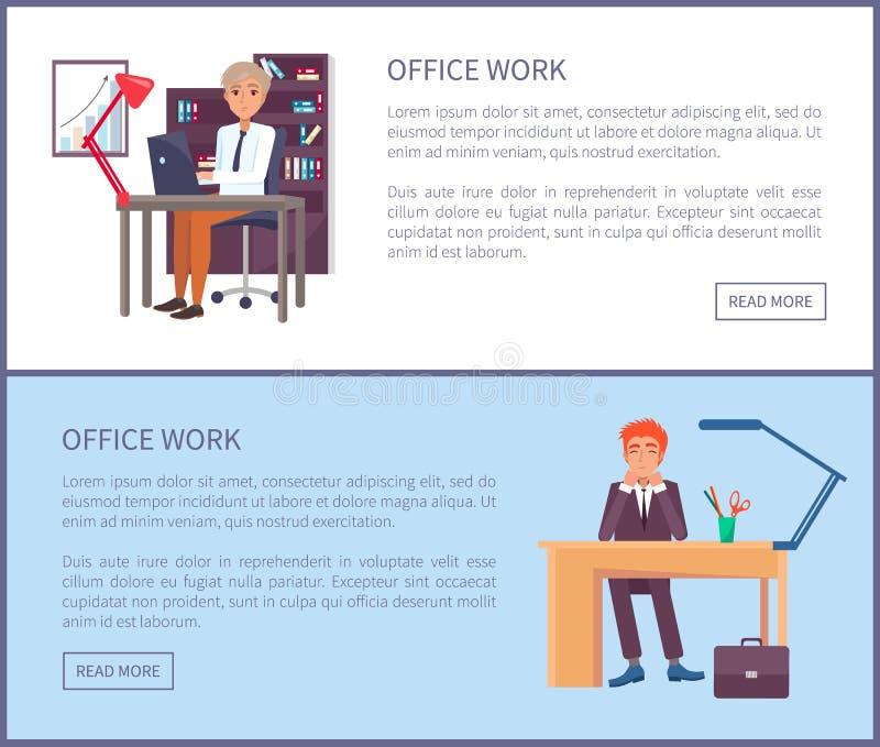 Mâles Sit Workplace témoin des textes d'affiche de travail de bureau illustration stock