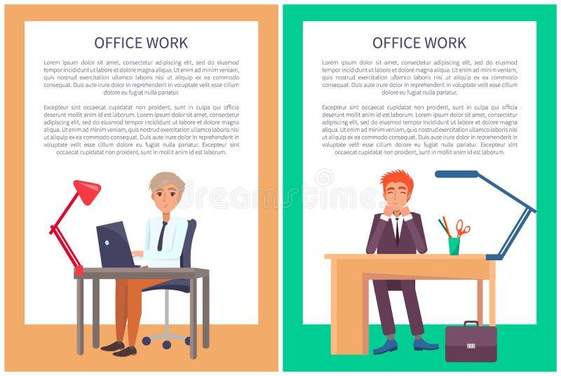Mâles Sit Workplace témoin des textes d'affiche de travail de bureau illustration libre de droits