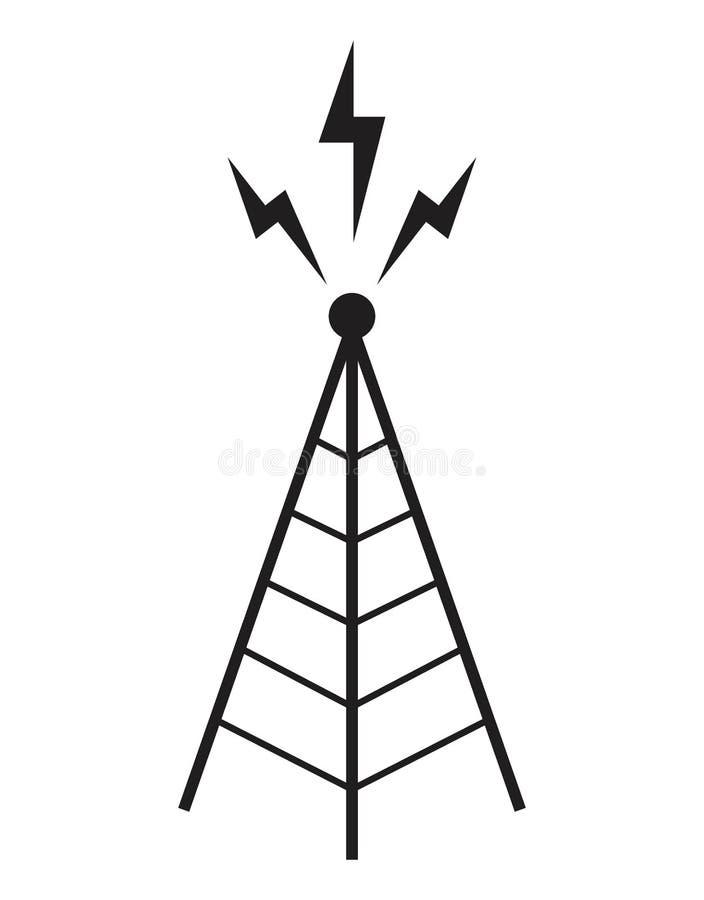 Mât de communication d'antenne de tour hertzienne illustration stock