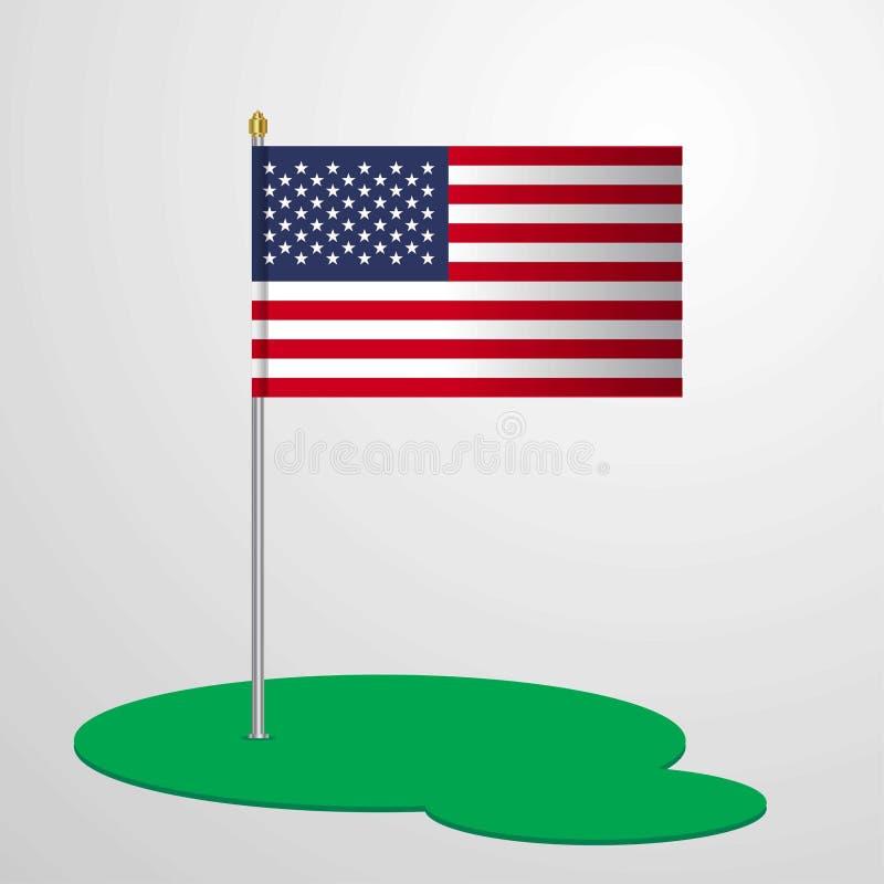 Mât de drapeau des Etats-Unis d'Amérique illustration de vecteur