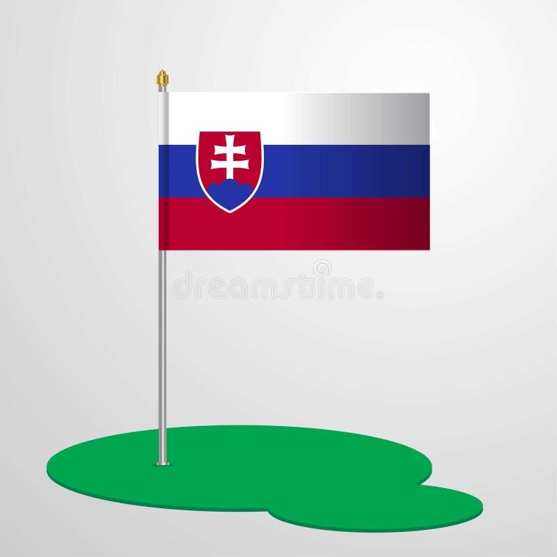 Mât de drapeau de la Slovaquie illustration de vecteur