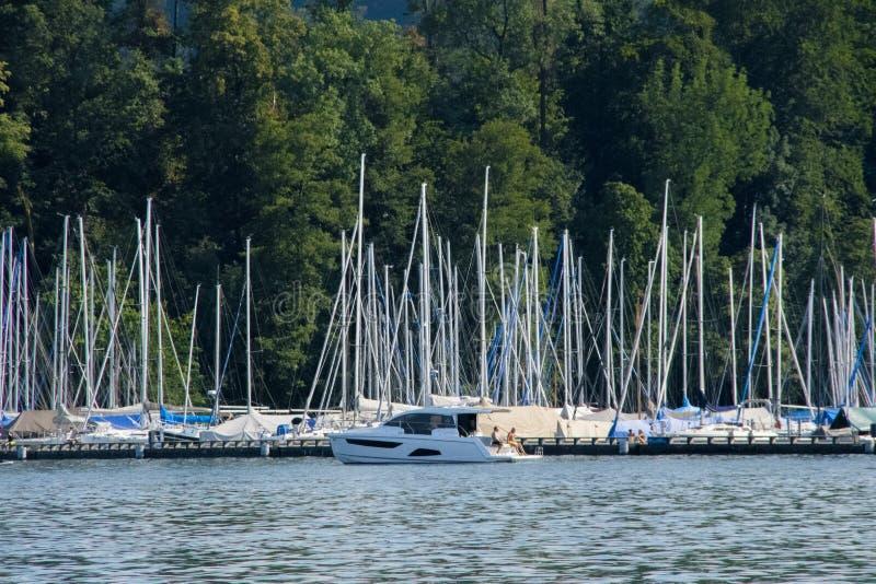 Mât et voilier et vagabonds en luzerne de lac en Suisse avec un fond d'une forêt dans le temps de jour photo stock