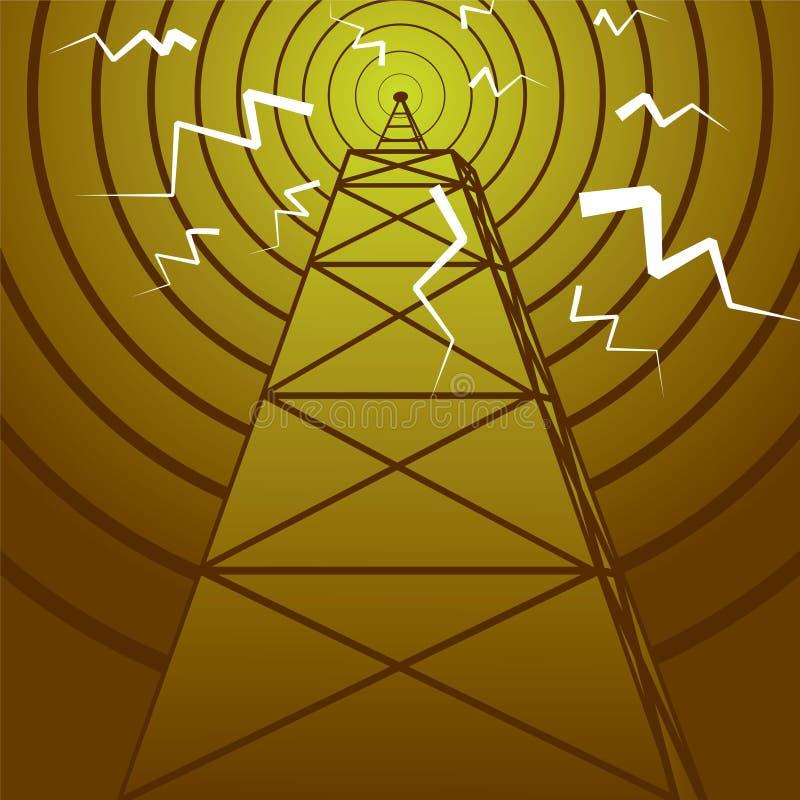 Mât par radio illustration de vecteur