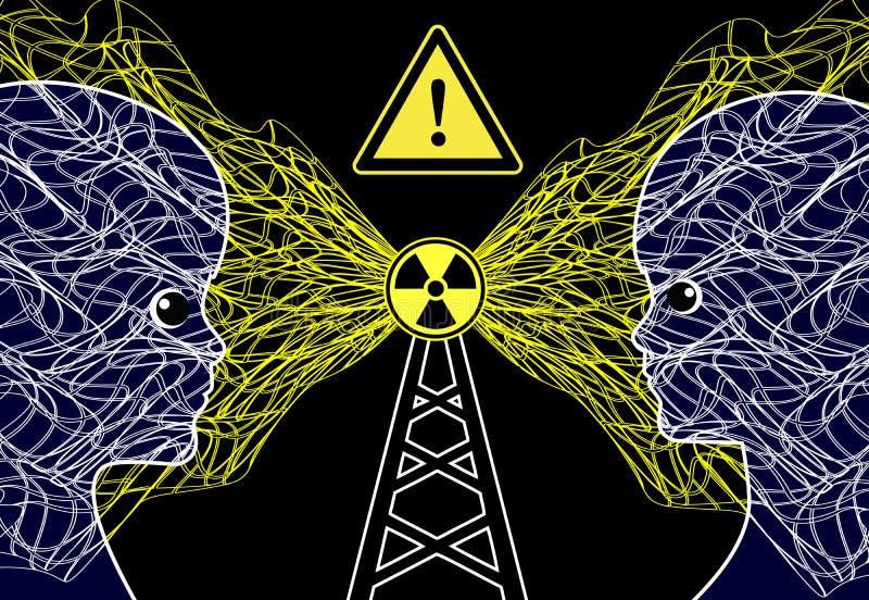 Mâts de transmission et risque sanitaire illustration stock