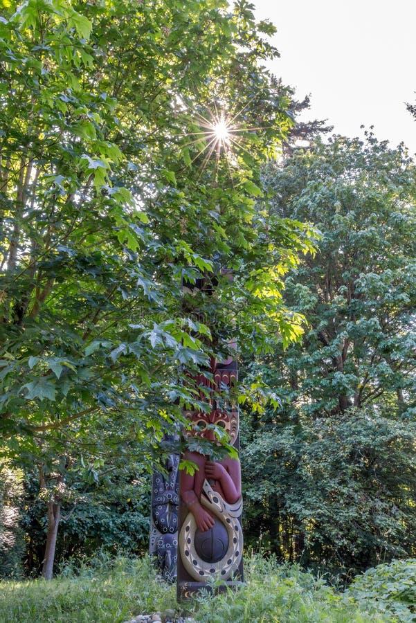 Mâts totémiques en Stanley Park Vancouver photos stock