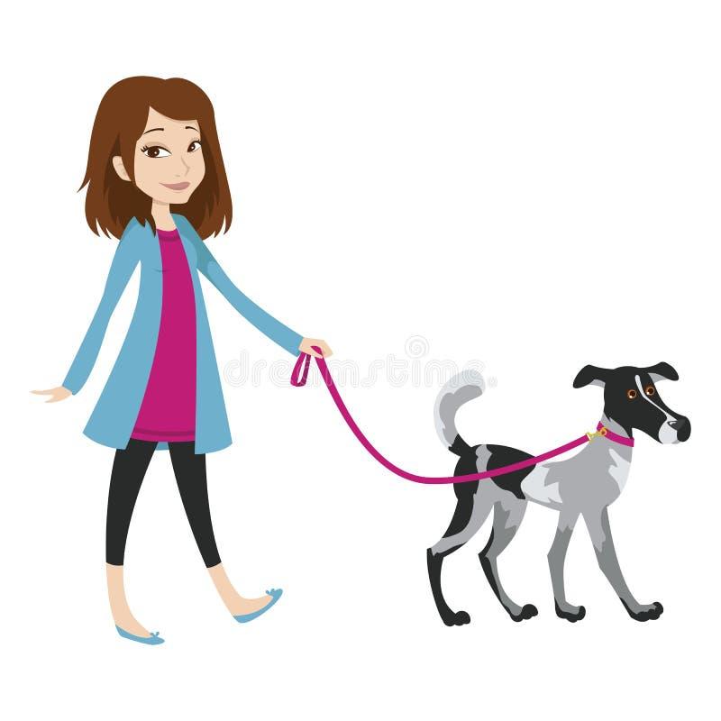 Mädchen, das mit einem Hund auf einer Leine geht lizenzfreie abbildung