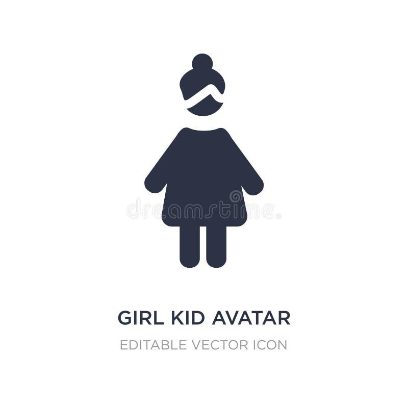 Mädchenkinderavataraikone auf weißem Hintergrund Einfache Elementillustration vom Leutekonzept vektor abbildung