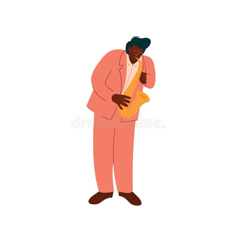 Männlicher Afroamerikaner-Musiker in Eegant-Klage, die Saxophon-Vektor-Illustration spielt lizenzfreie abbildung