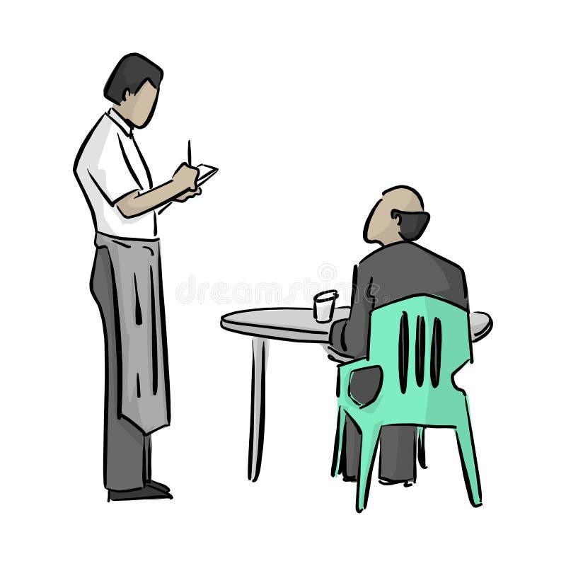 Männlicher Kellner, der eine Anmerkungsvektorillustration mit den schwarzen Linien lokalisiert auf weißen Hintergrund schreibt lizenzfreie abbildung