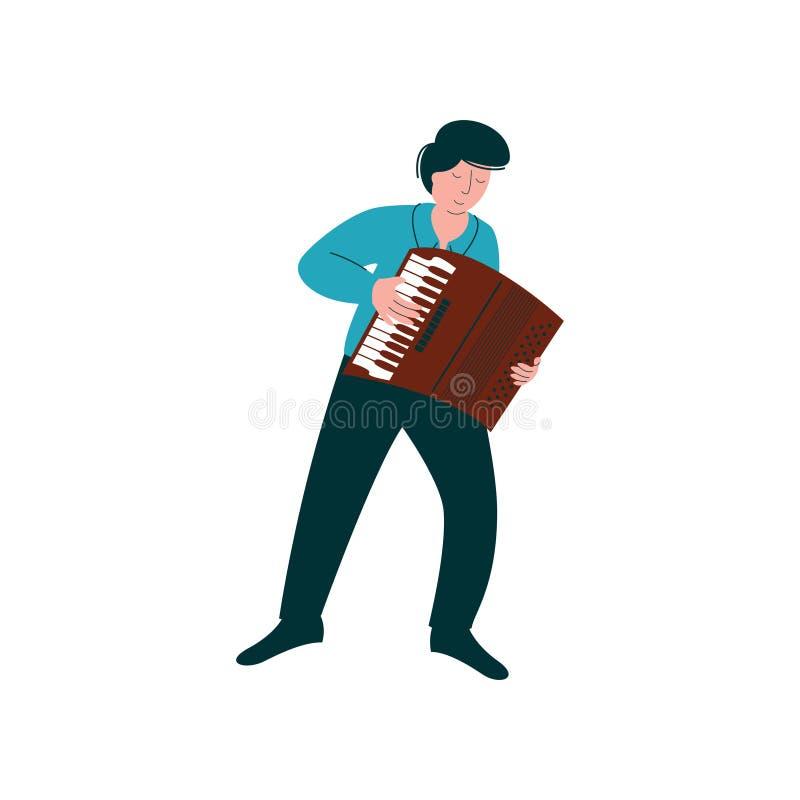 Männlicher Musiker Playing Accordion, Mann mit Musikinstrument-Vektor-Illustration stock abbildung