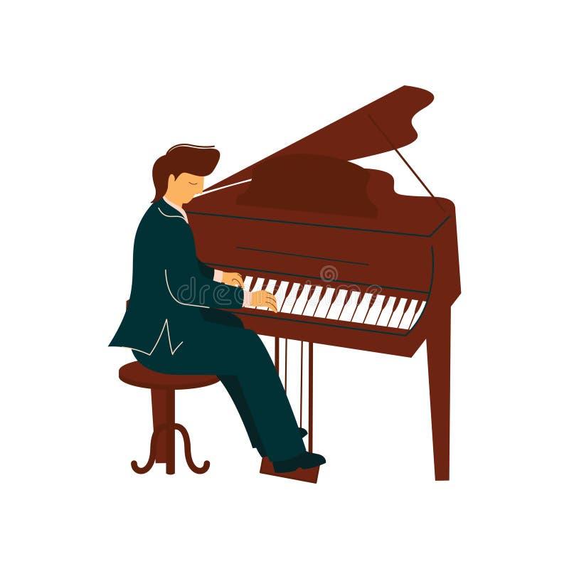 Männlicher Musiker Playing Classical Piano, Pianist Performs an der Konzert-Vektor-Illustration stock abbildung