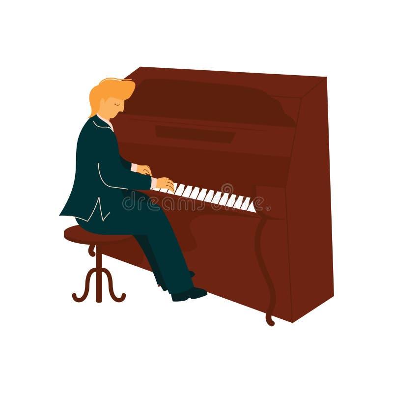 Männlicher Musiker Playing Piano, Pianist mit klassischer Musikinstrument-Vektor-Illustration vektor abbildung