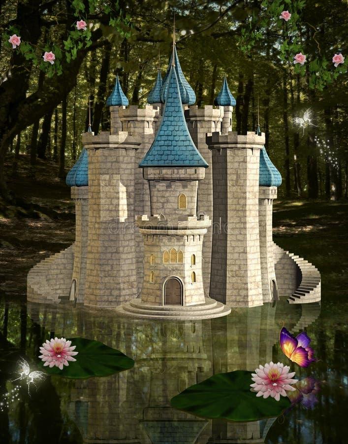 Märchenschloss durch einen Teich vektor abbildung