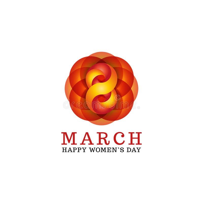 8. März ist glückliche Frauen kreatives Text- und Zahlmodell der Tagesweibliches Grußkarte, Frühlingsfeiertagsereignisplakat-Deko stock abbildung
