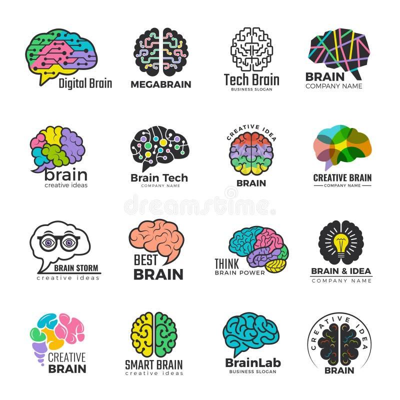 Móżdżkowi logotypy Biznesowy pojęcie barwionej mądrze umysł innowacji kreatywnie wektor barwił symbole royalty ilustracja