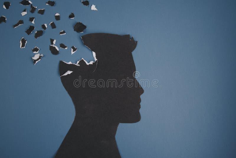 Móżdżkowy nieładu symbol przedstawiający ludzką głową zrobił formie tapetować Kreatywnie pomysł dla choroby alzhaimerej, demencja obraz stock