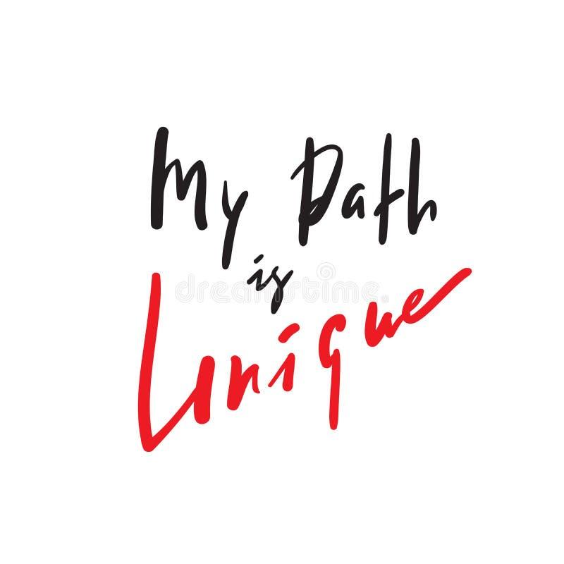 Mój ścieżka jest unikalna - inspiruje i motywacyjna wycena Ręka rysujący piękny literowanie royalty ilustracja