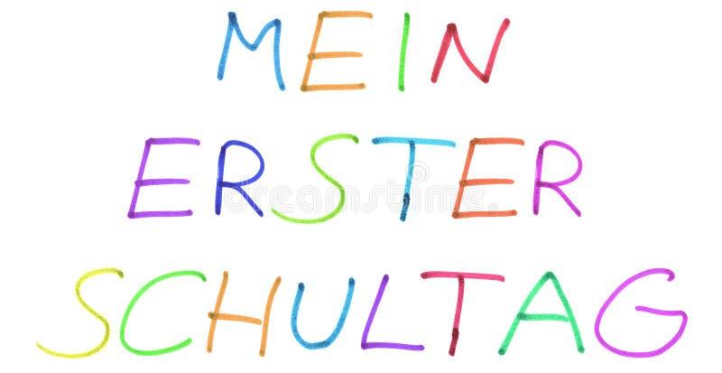 Mój pierwszy dzień przy szkołą w niemieckim języku - Kolorowy ręcznie pisany tekst royalty ilustracja