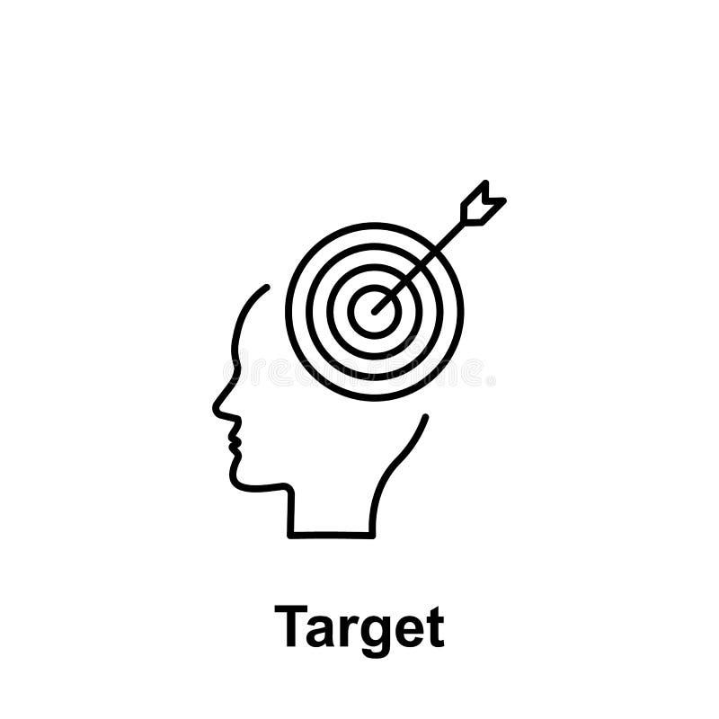 Mózg, cel, cel ikona Element kreatywnie thinkin ikony witn imię Cienka kreskowa ikona dla strona internetowa projekta i rozwoju,  royalty ilustracja
