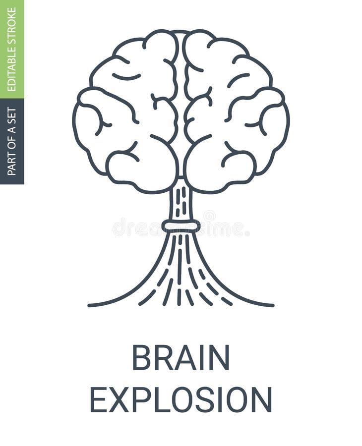 Mózg z kształtem atomowego wybuchu ikona royalty ilustracja