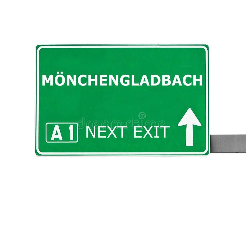 MÃ-NCHENGLADBACH drogowy znak odizolowywający na bielu obraz stock