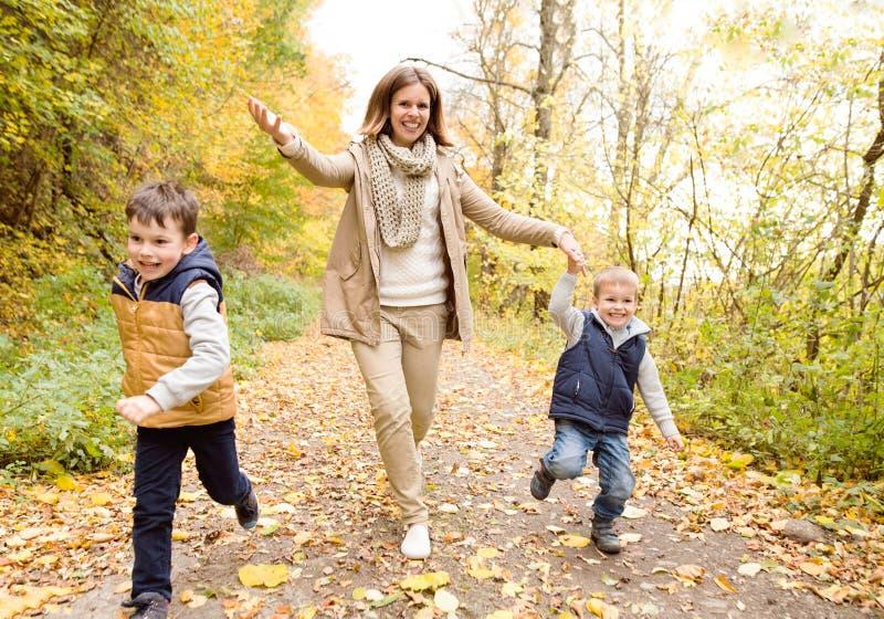Mãe bonita com seus filhos na floresta do outono foto de stock royalty free