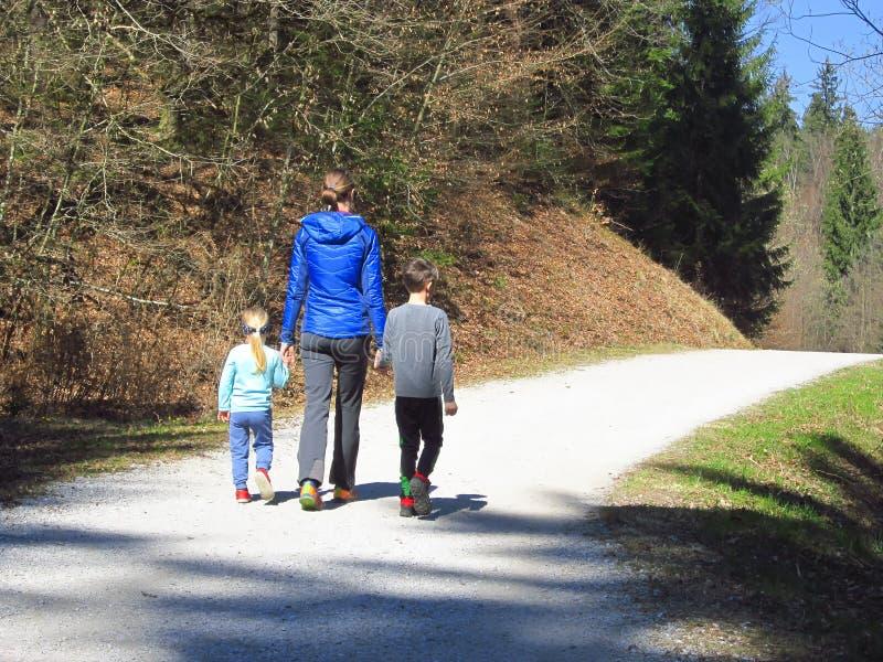Mãe com as crianças que caminham na floresta imagens de stock
