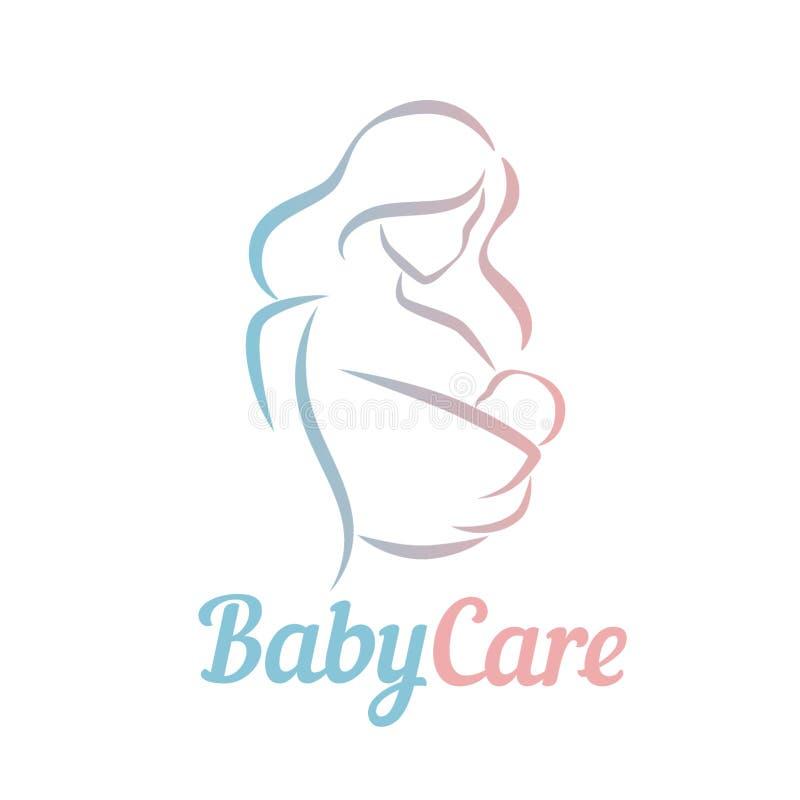 Mãe com a criança no símbolo em linhas simples, logotipo do vetor do estilingue do bebê, ícone ilustração stock