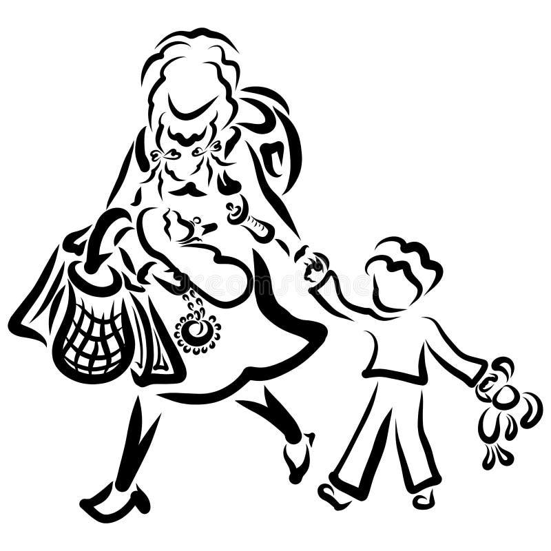Mãe com duas crianças, sacos e uma grande trouxa ilustração royalty free