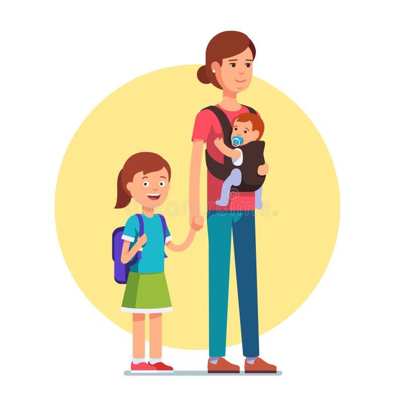 Mãe com filha do escolar e filho do bebê do infante ilustração stock