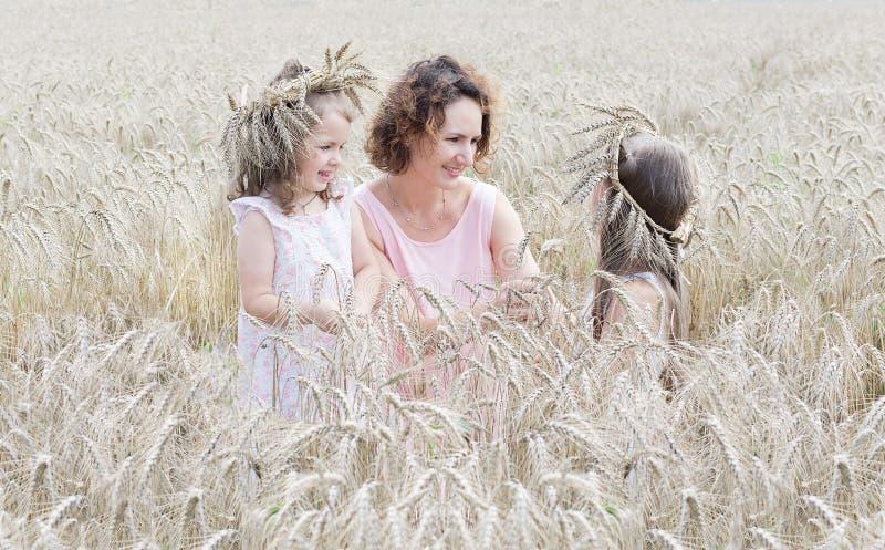 Mãe com a filha dois no campo de trigo fotos de stock royalty free