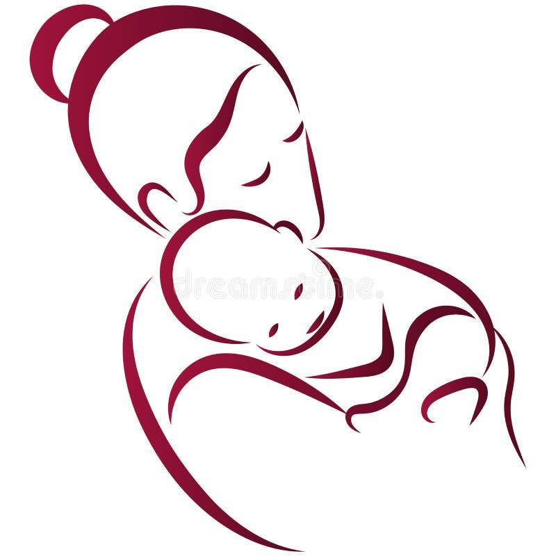 Mãe com linha arte do bebê ilustração do vetor
